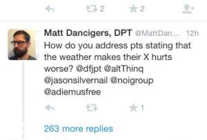 Matt Dancigers Twitter convo weather